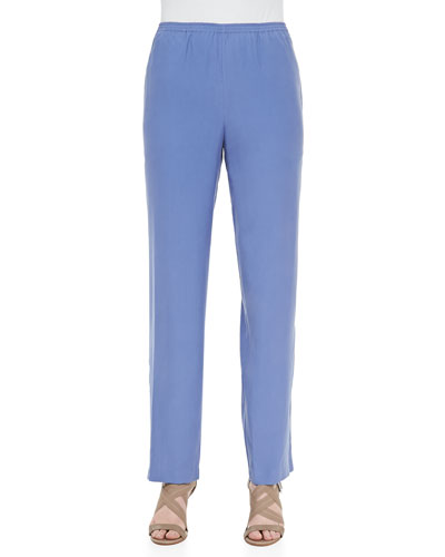 Plus Size Solid Silk Pants  Blue