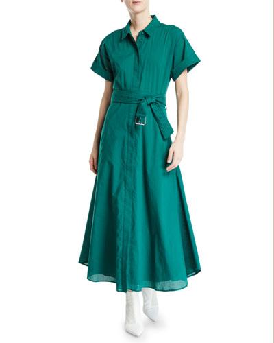 Maya Button-Front Short-Sleeve Cotton Dress w/ Belt