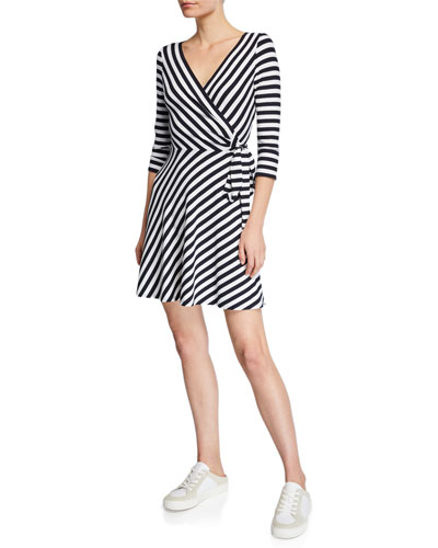 Faux-Wrap Striped Dress