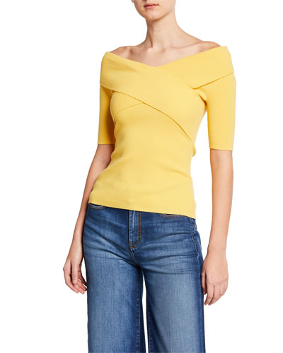 Shore Leave Ribbed Cross-Front Sweater