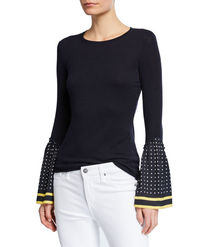 Shanghaied Dot-Point-Sleeve Sweater