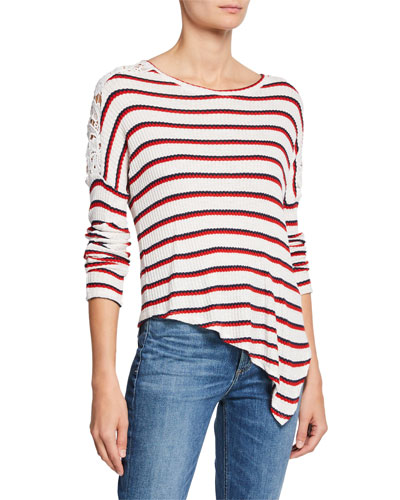 Bleecker Striped Top with Lace Shoulder Detail