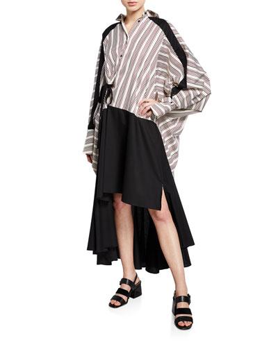 Streep Striped High-Low Shirt Dress