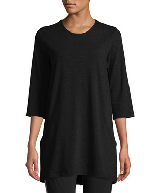 412cc475bd363 Eileen Fisher Petite Half-Sleeve Jersey Tunic w  Pockets