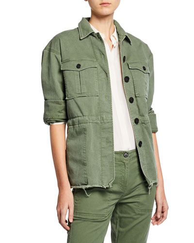 Button-Front Cotton Utility Jacket