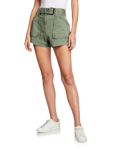 Belted Patch-Pocket Utility Shorts
