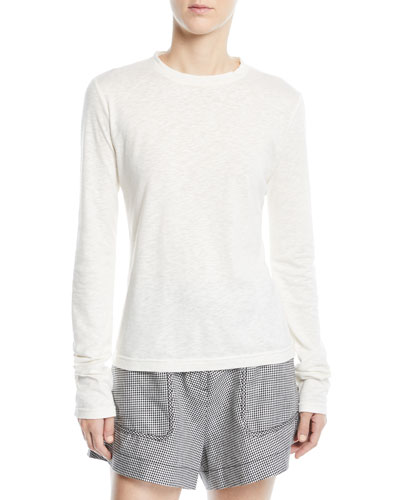 Drawstring-Back Long-Sleeve Crewneck Top
