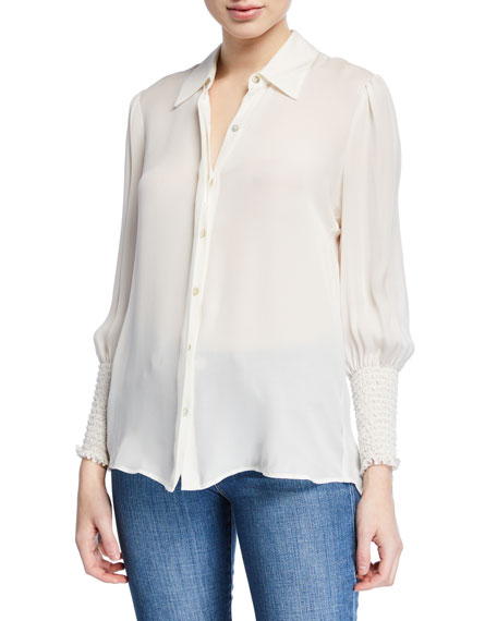 L'agence Tops LUCIEN SMOCKED-CUFF COLLARED BLOUSE