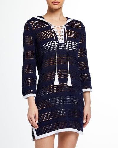 Open-Knit Hooded Beach Sweater