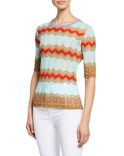 Zigzag Crewneck Elbow-Sleeve Shirt