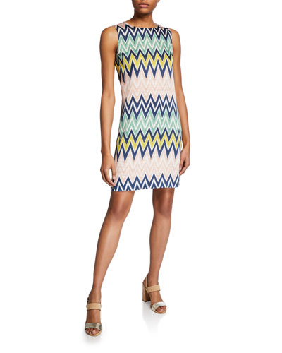 Zigzag Jewel-Neck Sleeveless Shift Dress