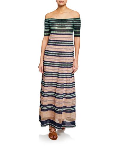 Striped Off-the-Shoulder Maxi Dress