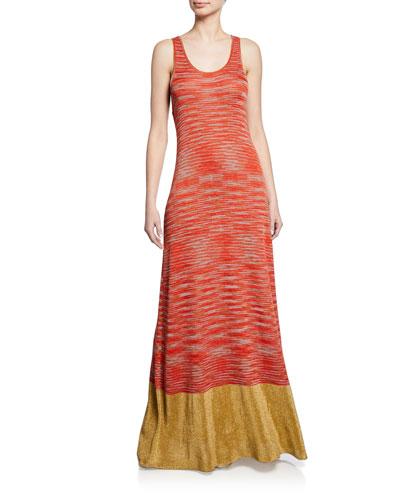 Sleeveless Space-Dye Knit Maxi Dress with Metallic Hem