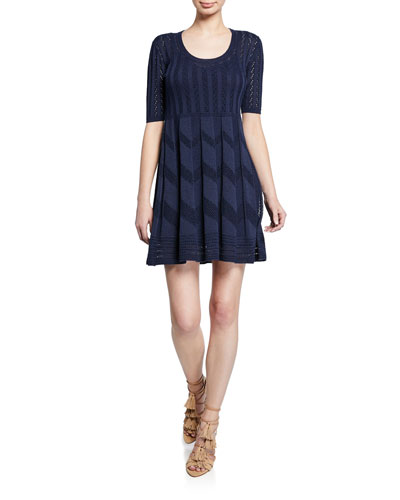 Scoop-Neck Short-Sleeve Knit Mini Dress