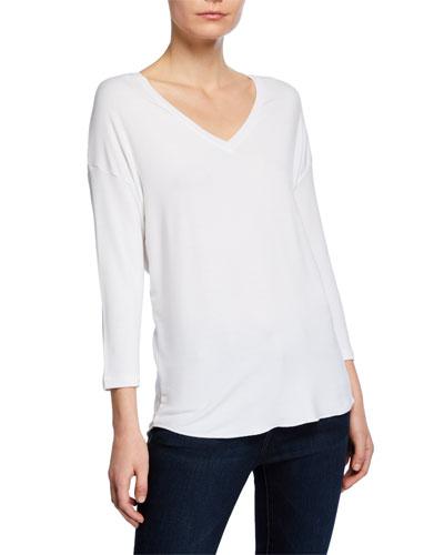 V-Neck 3/4-Sleeve High-Low Sweatshirt