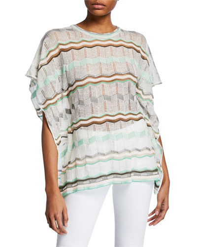 Crewneck Short-Sleeve Stripe-Patterned Tunic