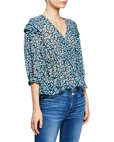 Blanche Floral-Print 3/4-Sleeve Top