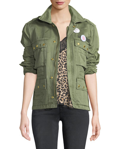 Krisy Grunge Utility Jacket with Pins