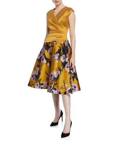 V-Neck Cap-Sleeve A-Line Cocktail Dress w/ Floral Jacquard Skirt