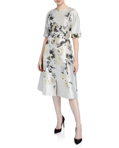 Short-Sleeve Button-Front Floral-Print Jacquard Dress