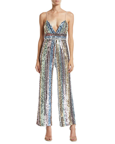 Sequin Multicolor Striped V-Neck Sleeveless Jumpsuit