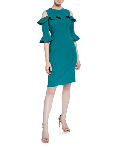Cold-Shoulder Half-Sleeve Crepe Sheath Dress w/ Ruffle Trim