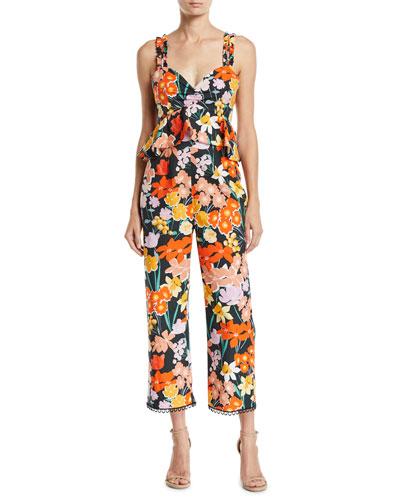 Sleeveless Floral-Print Poplin Jumpsuit
