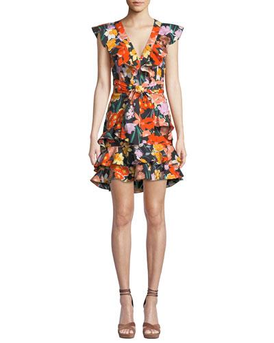 Floral-Print V-Neck Flounce-Sleeve Mini Poplin Dress