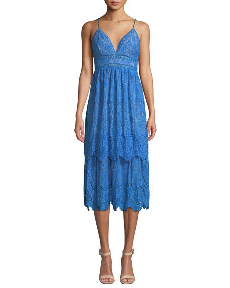 SAYLOR Lace V-Neck Spaghetti-Strap Midi Dress in Blue