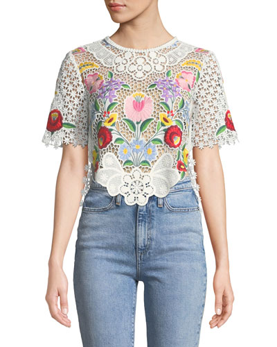 Crewneck Short-Sleeve Floral Embroidered Lace Crop Top