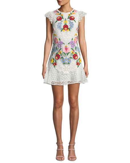 SAYLOR Cap-Sleeve Floral Embroidered Lace Mini Dress in Multi