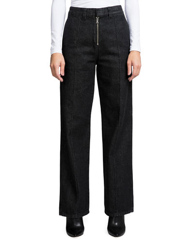 High-Rise Wide-Leg Jeans with Exposed Fly