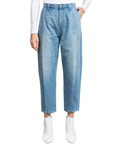 Seamed Mid-Rise Denim Gaucho Pants