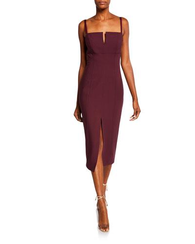 Saoirse Split-Front Square-Neck Cocktail Dress