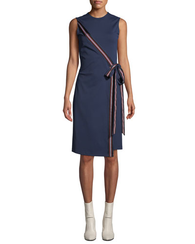 Lindsey Tie-Front Sleeveless Cocktail Dress