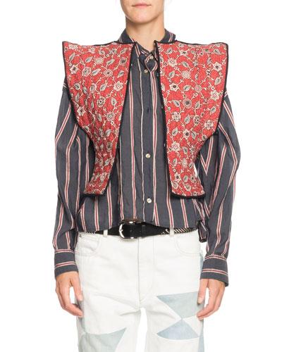 Mandie Reversible Quilted Linen Vest