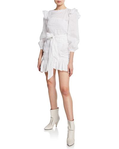 Telicia Ruffle-Accent Linen Mini Dress