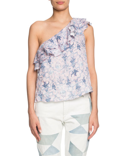 Thomy One-Shoulder Patterned Ruffle Top