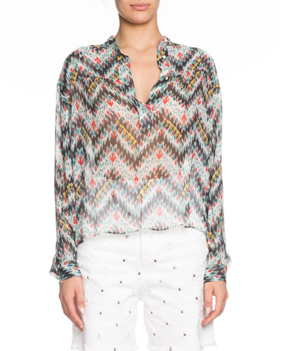 Emana Printed Button-Front Sheer Top