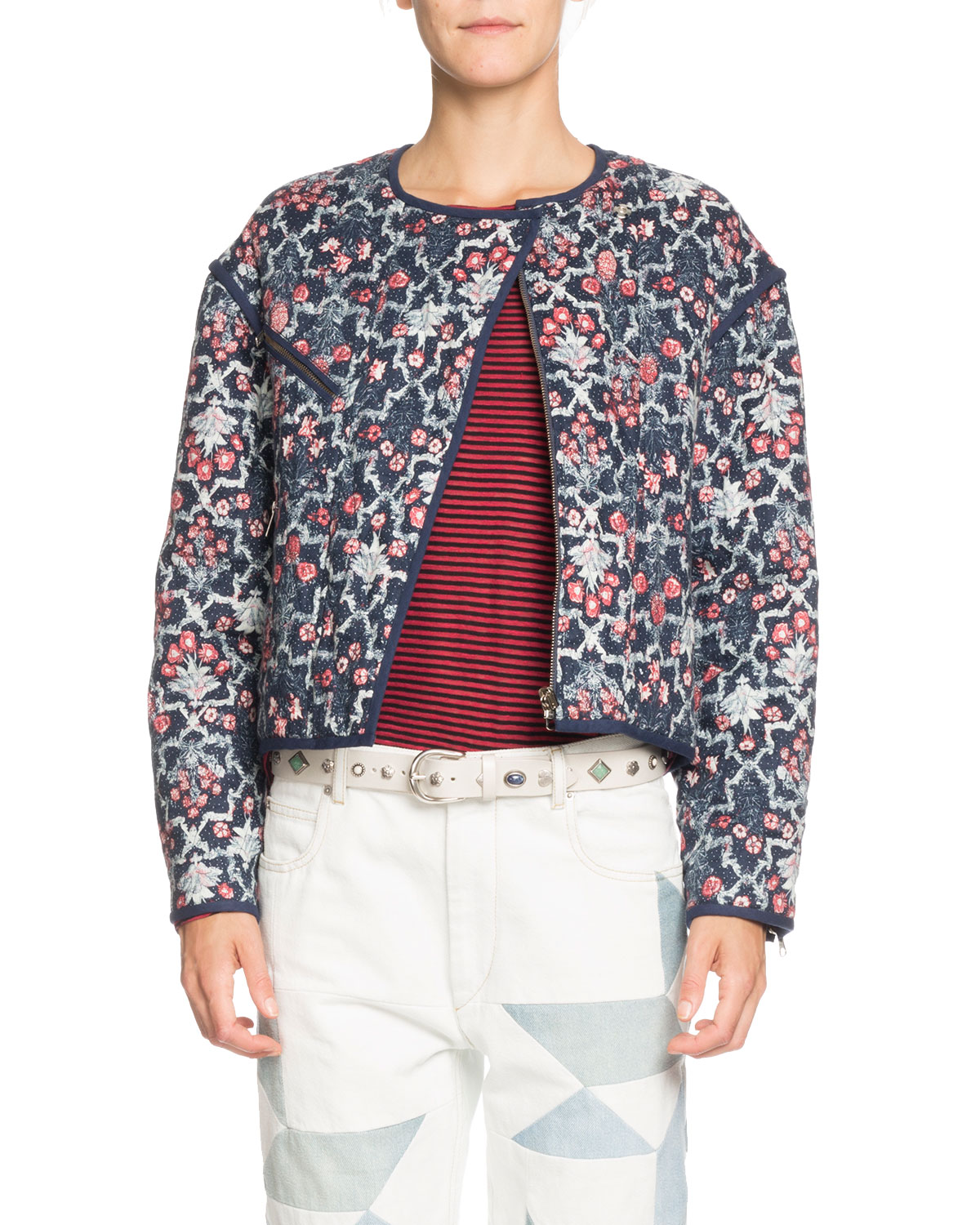 Linen Jacket Manae Quilted Floral Moto 8w4gUqxZ