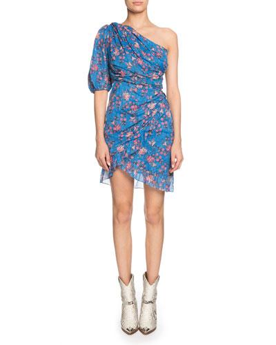 Esther Gathered One-Shoulder Floral Short Dress