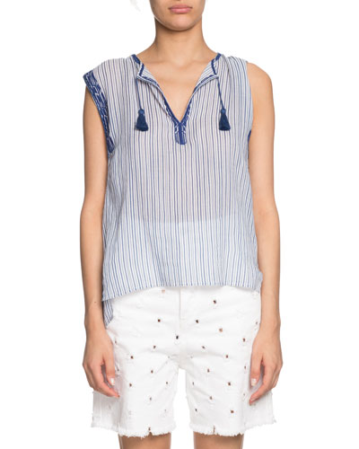 Juditha Striped Embroidered Sleeveless Top