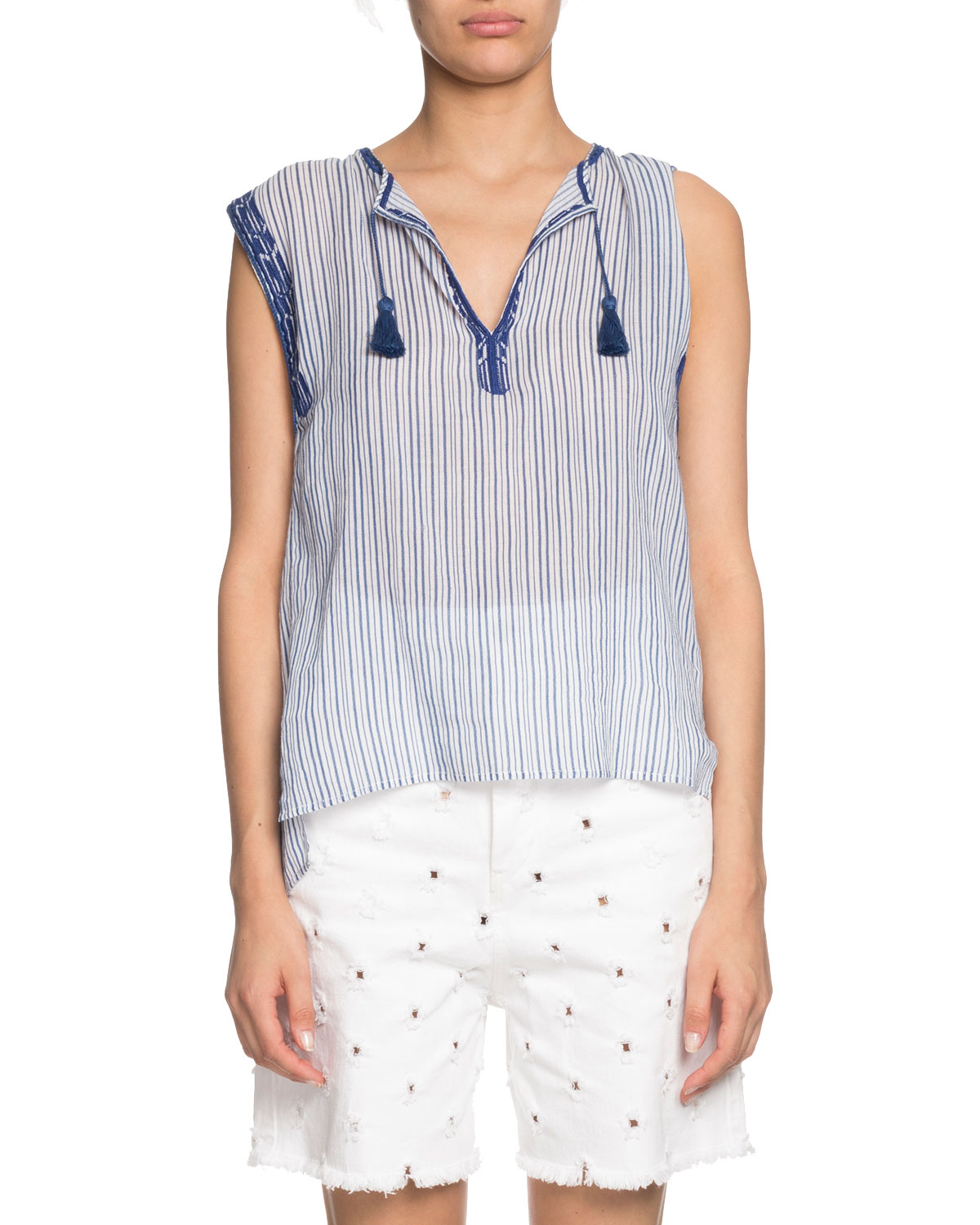 bbd168624d8144 Etoile Isabel Marant Juditha Striped Embroidered Sleeveless Top ...