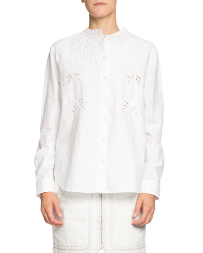 Willo Quilted Eyelet Button-Front Shirt