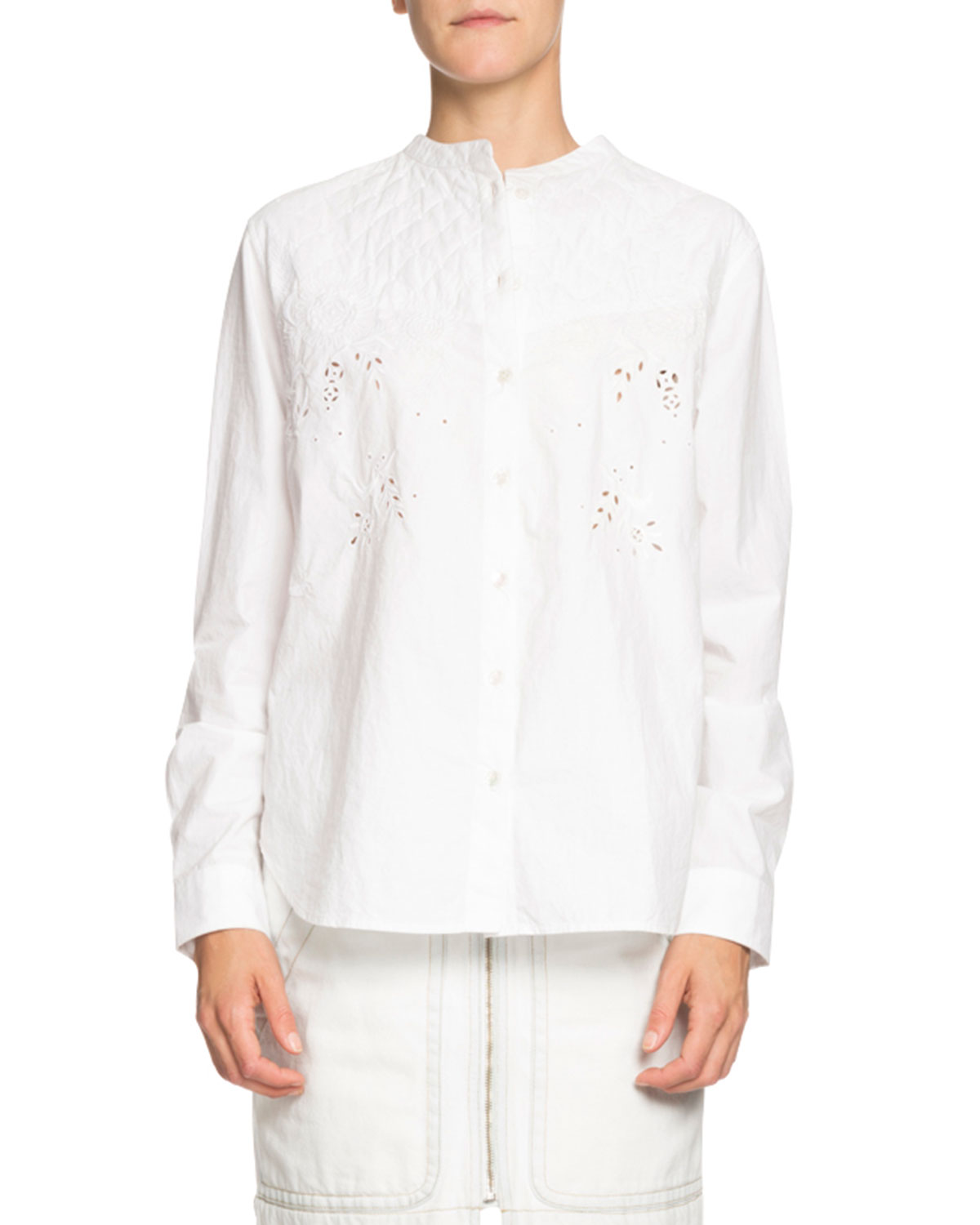 Etoile Isabel Marant Willo Quilted Eyelet Button-Front Shirt ... 1badd79205e
