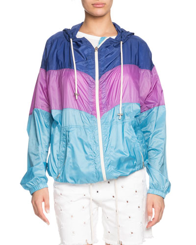 Kyriel Hooded Colorblock Zip-Front Jacket