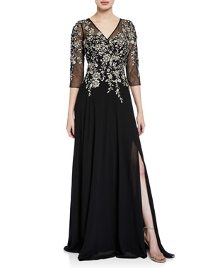 eadca373d6653 Rickie Freeman for Teri Jon V-Neck 3 4-Sleeve Beaded Floral-