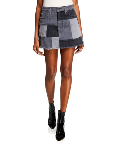 Amazing Patchwork Denim Mini Skirt