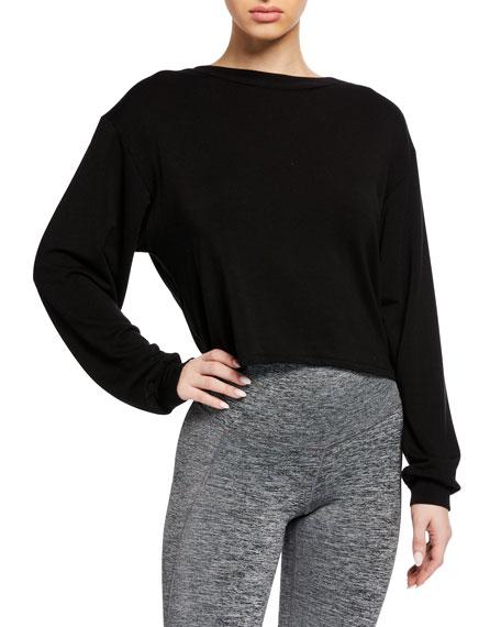 Michi Breeze Cropped Open-Back Sweatshirt