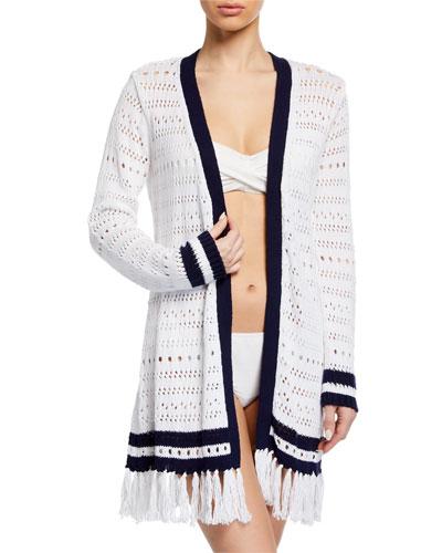 Open-Knit Long-Sleeve Cardigan Sweater with Tassel Hem